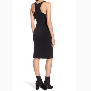 Leith sleek knit midi dress black size small